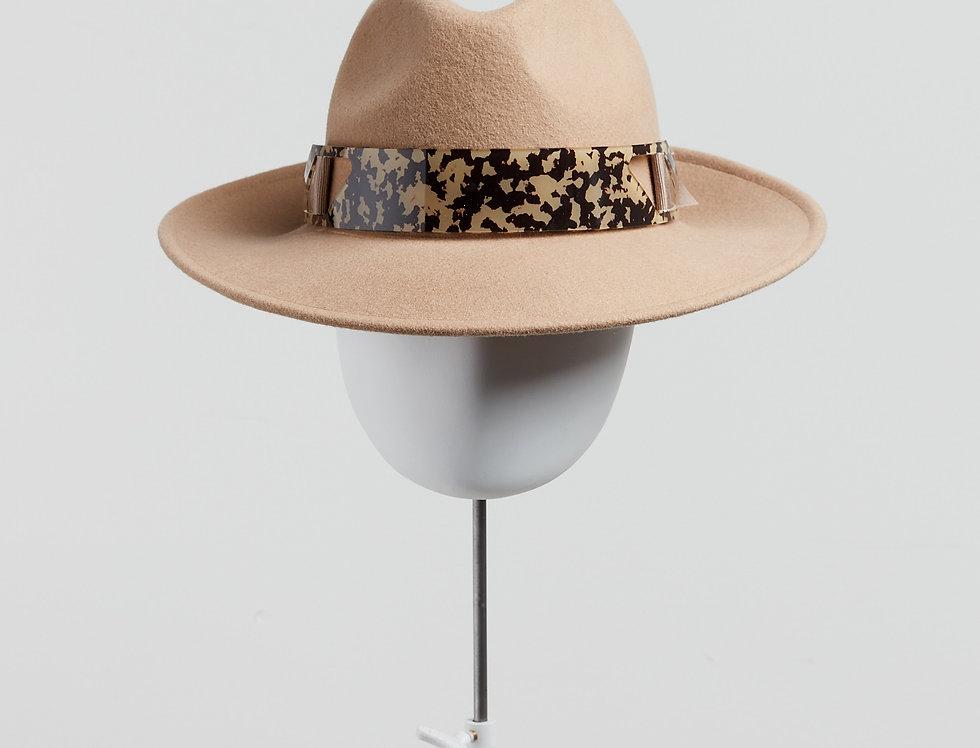 Sally-Ann Provan - Kenzy wool felt fedora hat with acrylic trim - camel -front view