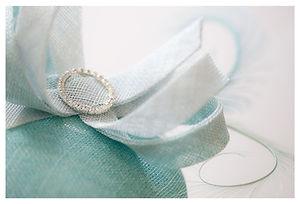 Sally-Ann Provan bespoke aqau pillbox hat with loop detail