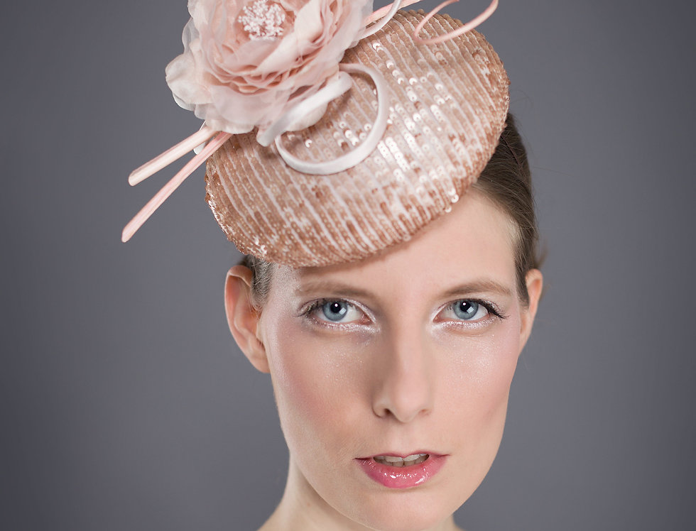 Fifi sequin covered pillbox hat with silk peony flower