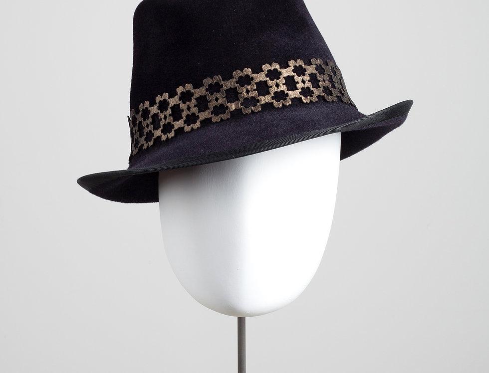 Sakura felt trilby with geometric patterned leather hatband