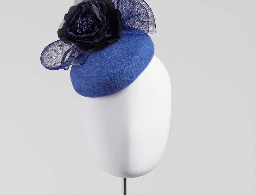 Heiho felt pillbox hat with silk flower and crin bow - front view