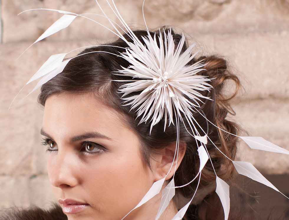 Thistle wedding fascinator made from a spikey flower with soft diamond shaped feathers