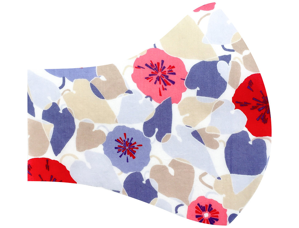 Liberty of London - Red and Pink nasturtiums tana lawn cotton face mask, face covering with adjustable elastics