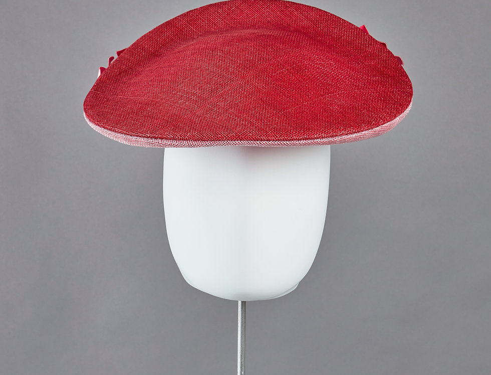 Sally-Ann Provan - Aeris 50s style hat with spray of handmade origami flowers - front view