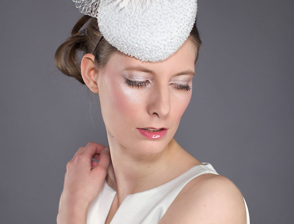 Crista small beaded bridal pillbox hat with veiling and spikey flower