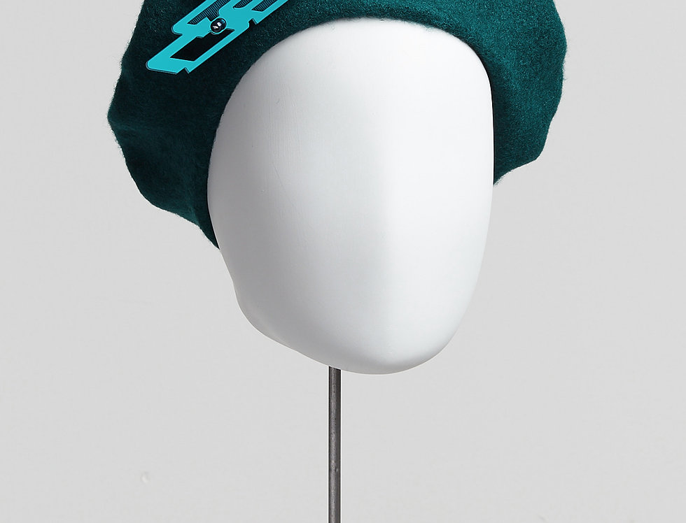 bottle green 100% wool beret with detachable laser-cut acrylic brooch with Swarovski pearls