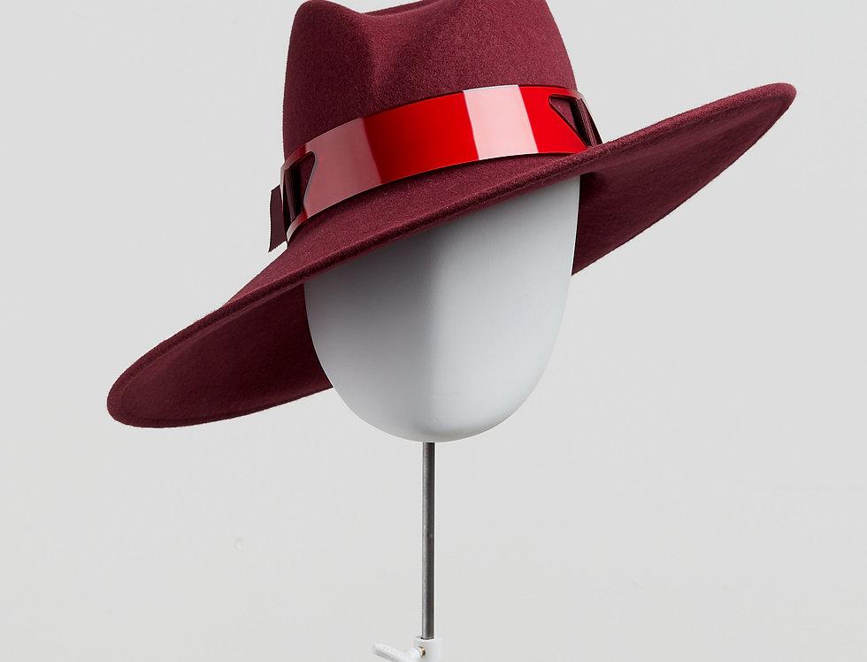 Sally-Ann Provan - Fenella wool felt fedora hat with mirror acrylic trim - wine colour - front view