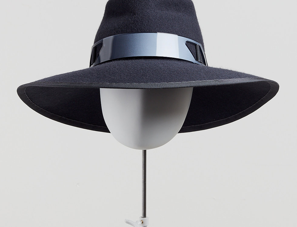 Sally-Ann Provan - Blair wool felt fedora hat with acrylic trim - slate grey - front view