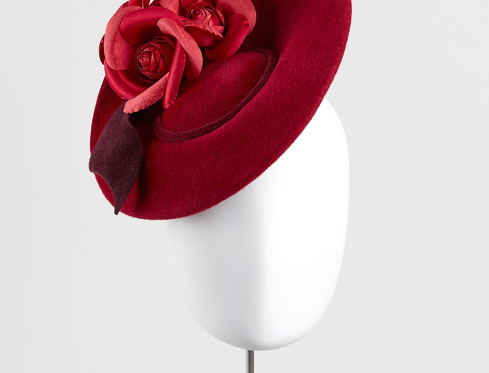Sada winter felt saucer hat with camellias and felt leaves - front view