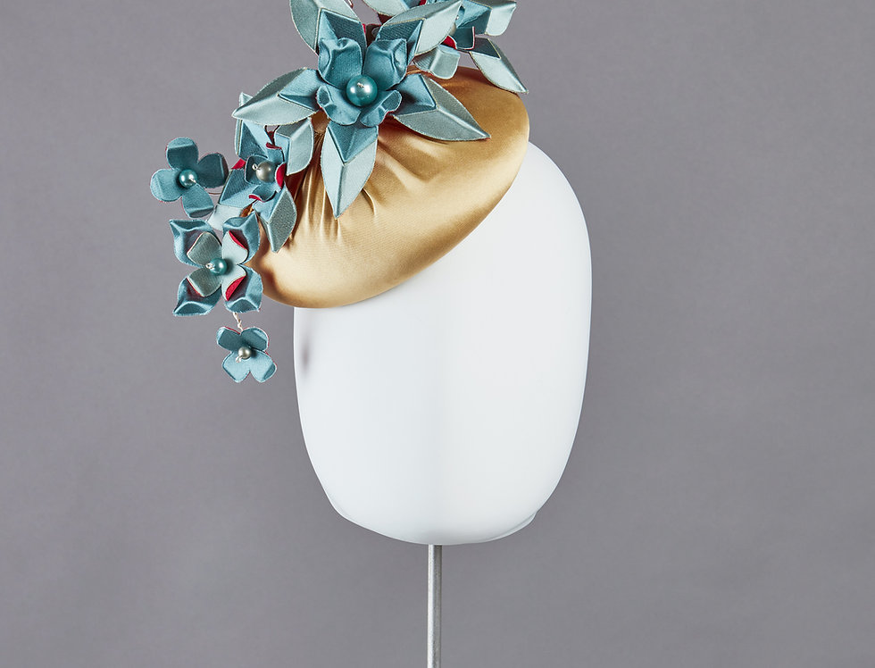 Alia duchess silk covered pillbox hat with silk origami flowers - front view
