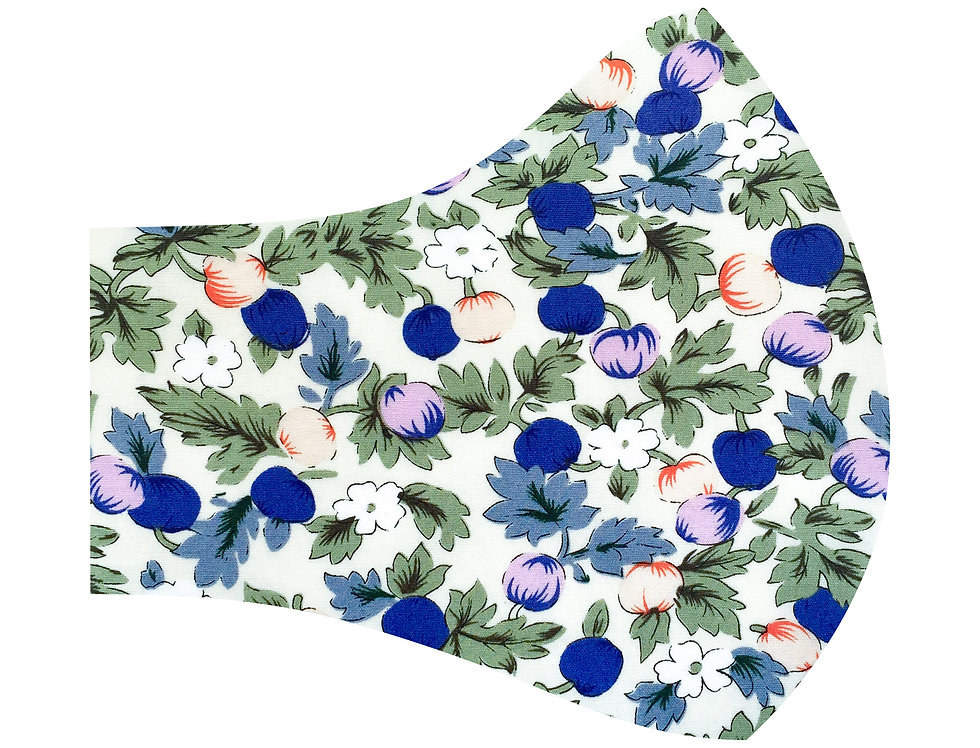 Liberty of London - Figs and Flowers 100% cotton face mask, face covering with adjustable elastics