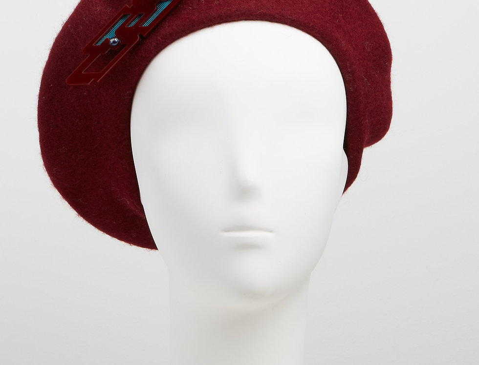 burgundy wine 100% wool beret with laser-cut acrylic brooch with Swarovski pearls - front view