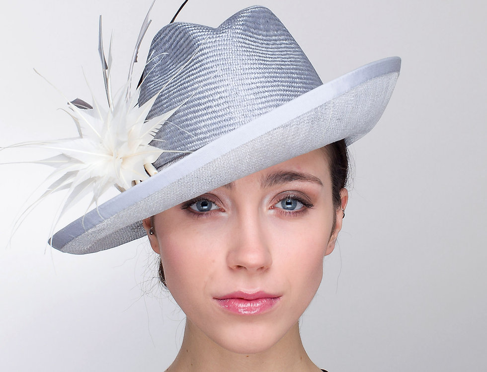 Volante smart trilby hat with transparent brim, spikey feather flower and colour graded arrowheads