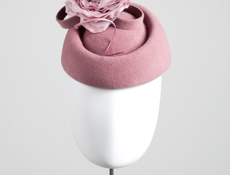 Misaki felt pillbox hat with silk peony flower and felt loop trim