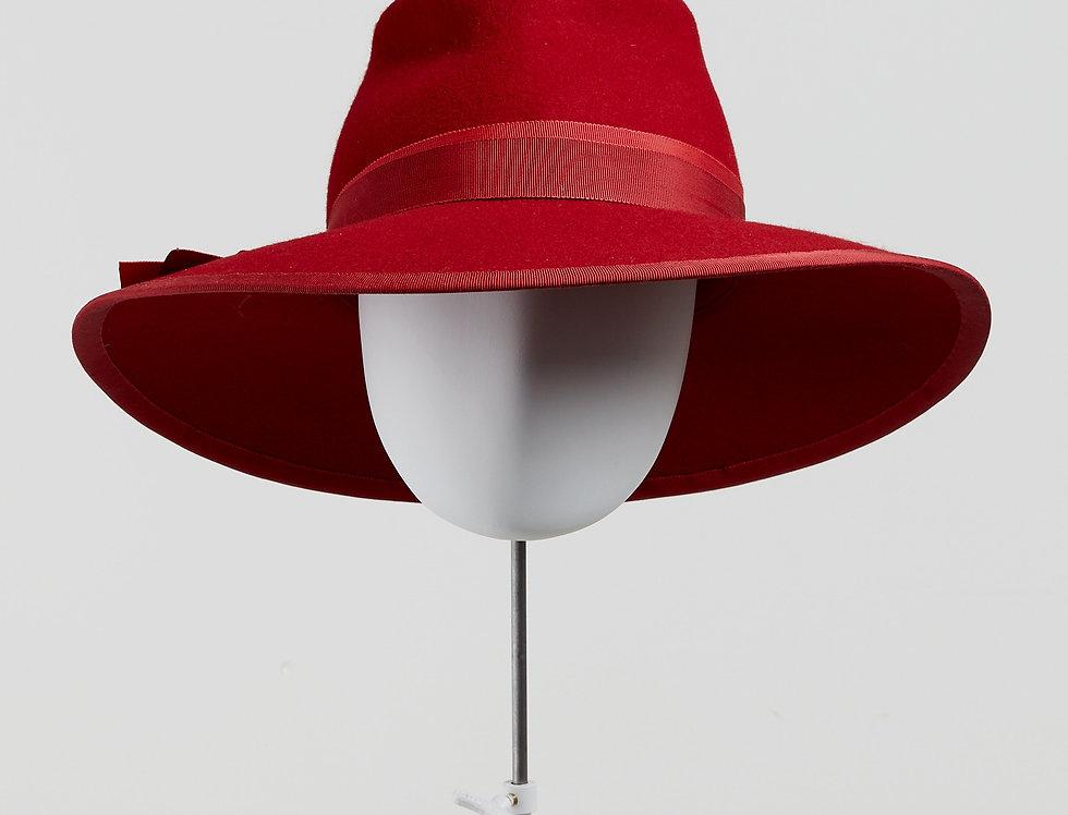 Sally-Ann Provan - Blair wool felt fedora hat with ribbon trim - front view
