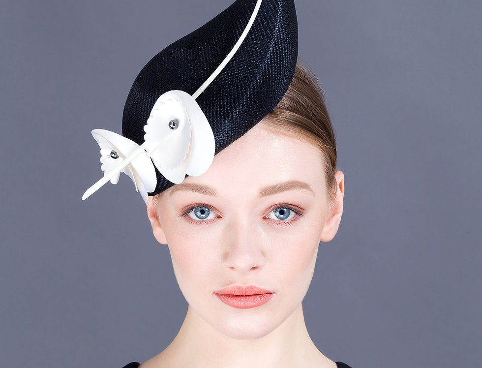 Noa teardrop perching hat with two large origami flowers with pearl centres