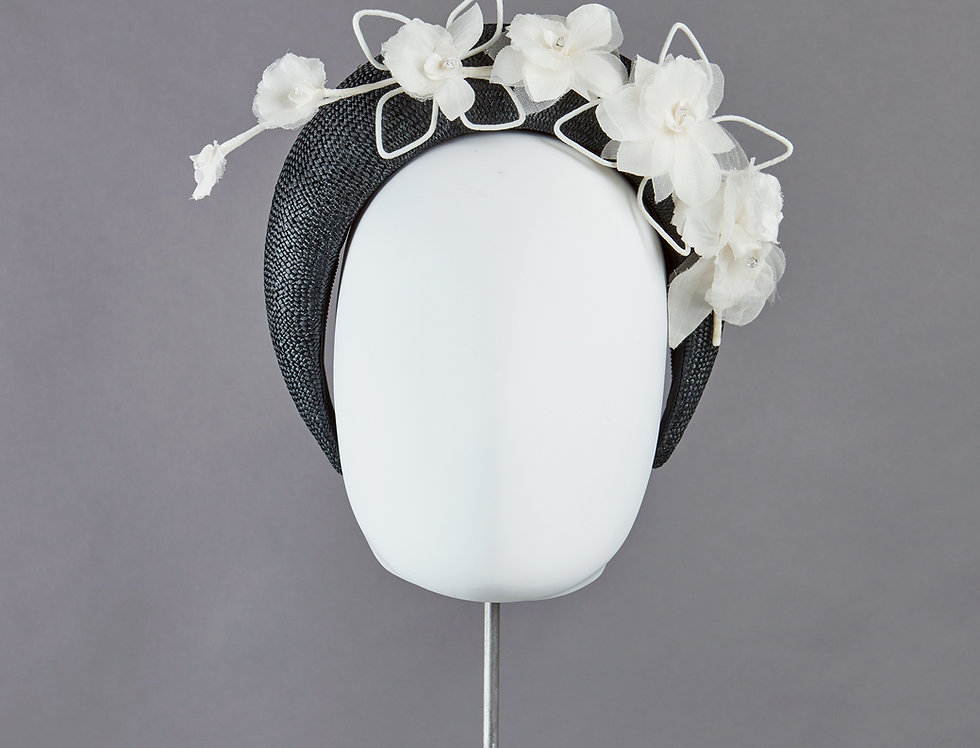 Anais - straw bandeau headband hairband with orchid spray - front view