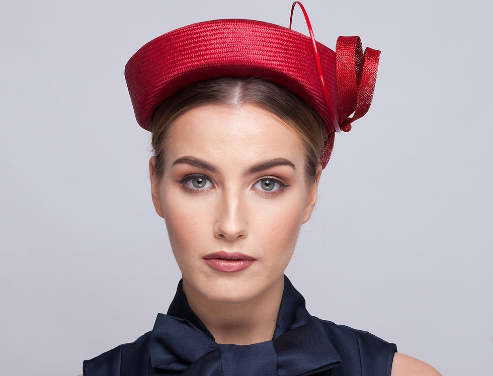 Lola straw pillbox hat with figure of eight loop bow