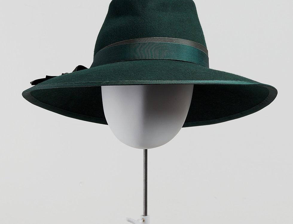 Sally-Ann Provan - Blair wool felt fedora hat with ribbon trim - bottle green - front view