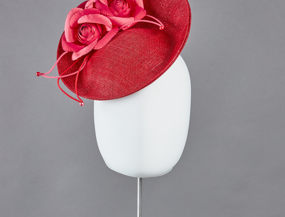 Agate small tilted saucer hat with spray of silk camellias - front view