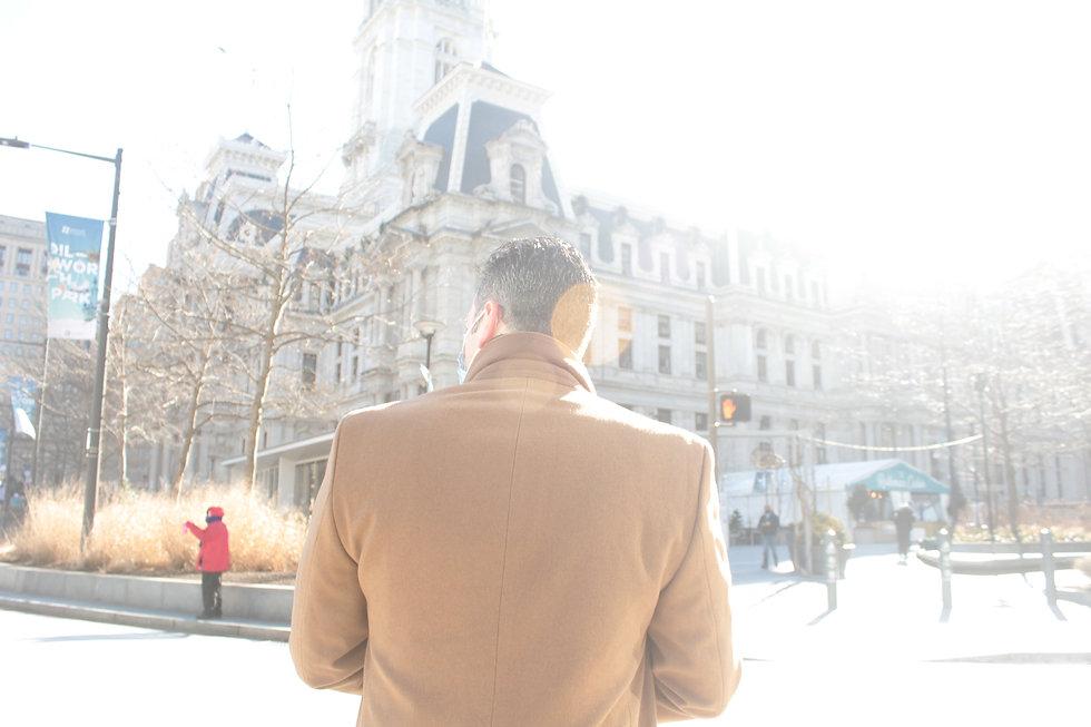 Judge Dan Sulman in front of Philadelphia City Hall