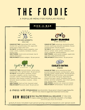 Nature Inn Social Events Foodie Menu