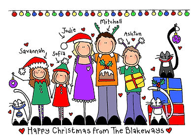 Blackshoe Family Christmas Cards   (Fitting up to 8 characters)  All the members of your family, festively fitted out, and looking wonderful on your individuallydesigned Blackshoe Christmas Cards