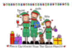 Blackshoe Elves Christmas Cards (Fitting Up to 8 characters)  One of out Most popular Christmas Cards! See how you'd all look, dressed as the Cutest of Elves! Made to measure - so you'll always look your best!