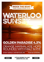 Subtle hops give a hint of orange fruit, a good malt character is present. The Iron Men of Crosby & Waterloo beach stand bathed in the setting sun, as long as I gaze on Waterloo Sunset I am in ale paradise.