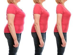Mature woman's body before and after weightloss on white background. Health care and diet