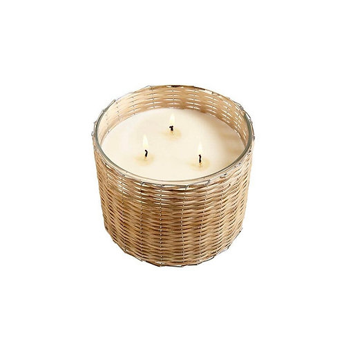 Belgian Linen 3 Wick Woven Candle