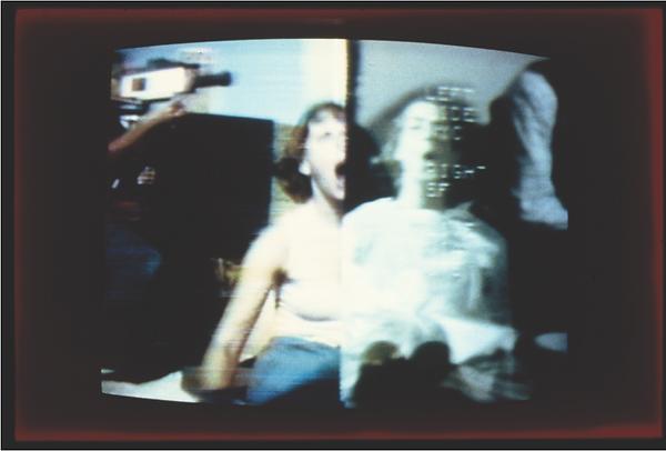 """Send_Receive,"" September 11, 1977. Split-screen image New York_San Francisco. Nancy Lewis"