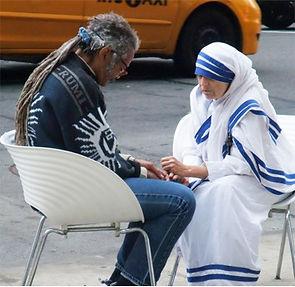 Linda Mary Montano blessing as Mother Teresa Photo Tony Whitfield.jpg