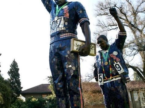 "SFAI, Rigo 23, ""Victory Salute"" statue, commemorating the 1968 Olympics"