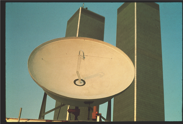 """""""Send_Receive,"""" NYC Uplink Site September 11, 1977. Photograph by Keith Sonnier. Courtesy"""