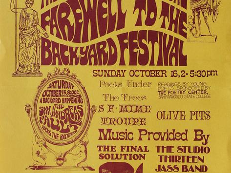 "1966 SFAI Poster ""Farewell to the Backyard Festival,"" Studio 13 Jass Band; & SF Mime Troupe; & Whitn"