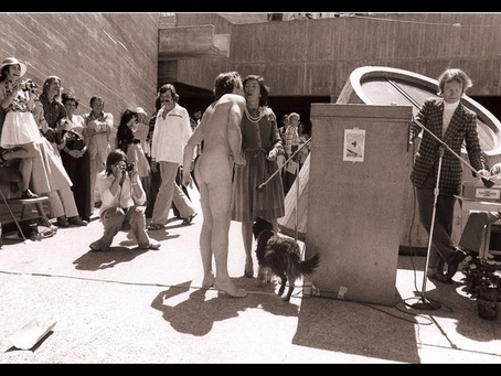 1975 SFAI Commencement, Cissie Swig, Fred Martin, Streaker, and Dog