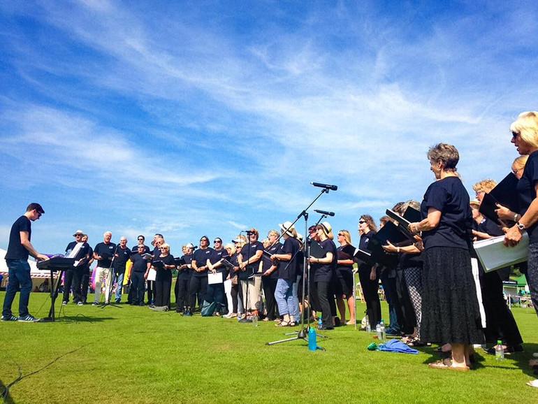 Choir performance outdoors