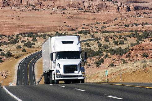 Semi truck on difficult road in Utah, US