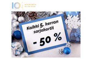 Kaikki 5 x hieronta sarjakortit -50 % | Hieronta IO-Klinikka Leppävaara