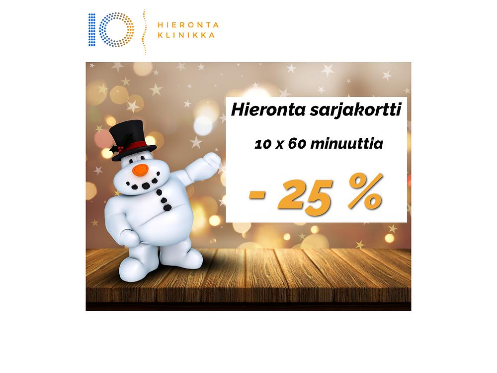 10 x 60 min Hieronta sarjakortti | Hieronta IO-Klinikka
