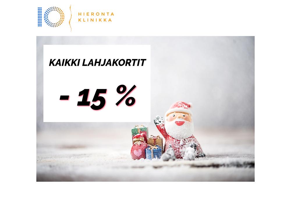 Lahjakortit -15%   Hieronta IO-Klinikka