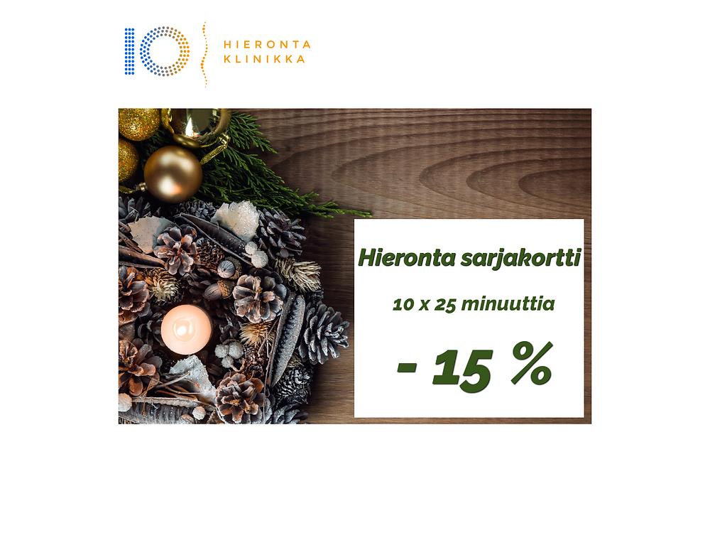 Hieronta sarjakortti 10 x 25 min | Hieronta IO-Klinikka Espoo Leppävaara