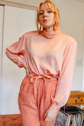 Large 80's textured peach blouse