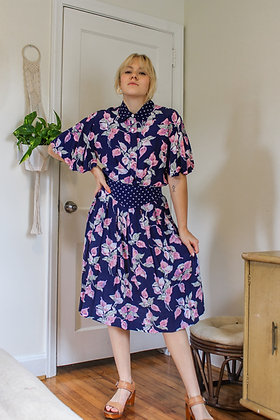 Small floral and dot flowy skirt set