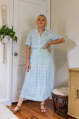 Small clover print pleated skirt set