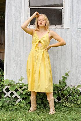 medium yellow tie front peekaboo dress