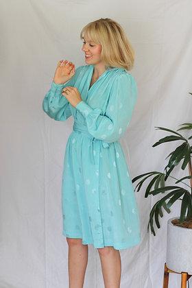 Small iridescent polka dot wrap dress