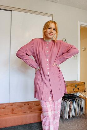 Large 80's dusty pink split tunic