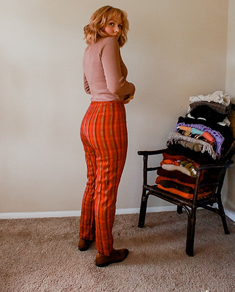 S/M orange you plaid pants